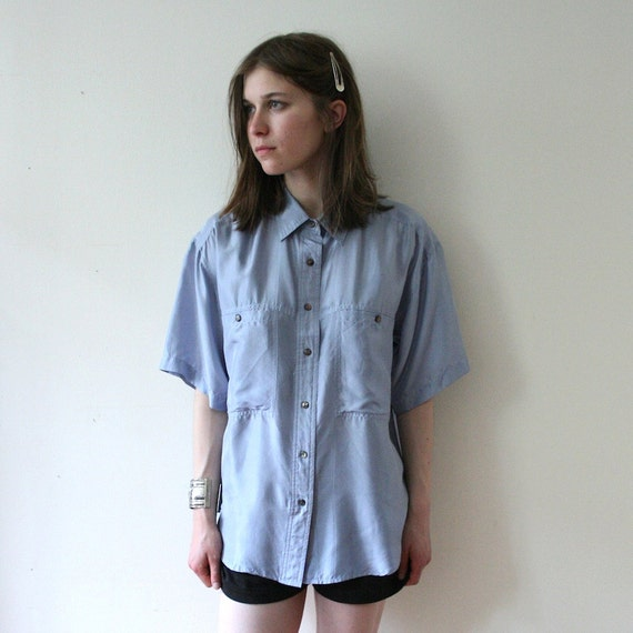 Vintage 80s Unisex Silk Slate Blue Shirt
