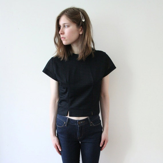 Vintage 50s Black Button Up Shell Top
