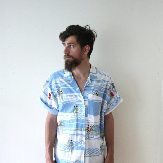 SALE Vintage 80s does 20s Summertime Beach Shirt