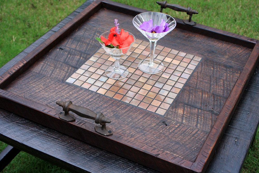 Ottoman Tray Copper Mosaic Tile Tray Large Serving Tray