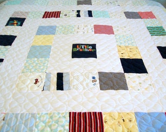 "Baby Clothes Quilt, Onesie Quilt, Homemade Quilt, Full Size 82"" x 87"" 208cm x 220cm (40 to 50 Clothing Items) - DEPOSIT LISTING (50%)"