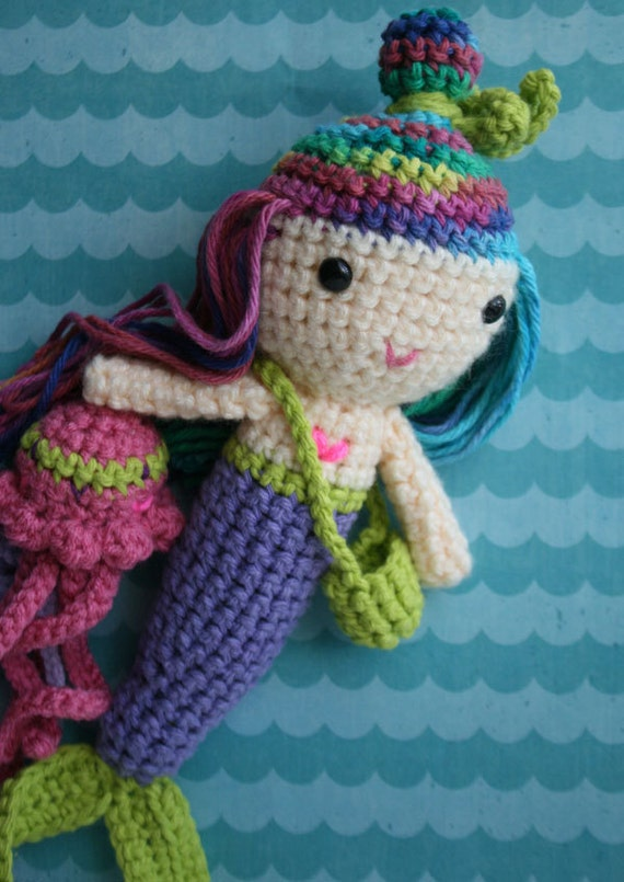 Purple berry lime mermaid doll and jellyfish friend