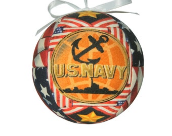 United States Navy Handmade Christmas Ornament Quilted Ornament for Dad Father Ready To Ship Homr Decor Gift by CraftCrazy4U on Etsy
