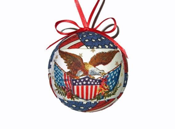 Patriotic Kimekomi Christmas Ornament Handmade Tree Decoration by CraftCrazy4U on Etsy
