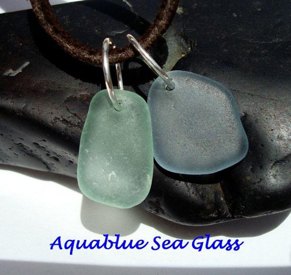 2 Drilled English Seaglass Small Pendants  Blue Grey And  Sea Foam (582)
