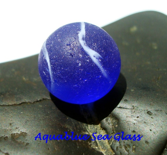 Cobalt  Blue Real Sea Glass Marble  From Puerto Rico  FREE Shipping   (404)