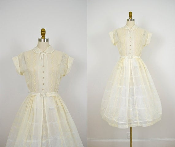 r e s e r v e d / 1950s dress / vintage 50s sheer organza cornsilk dress / canary floral dress