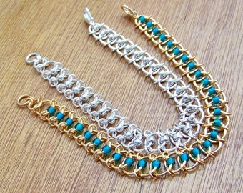 Centipede bracelet. Chainmaille. Silver/gold. Choose your colours