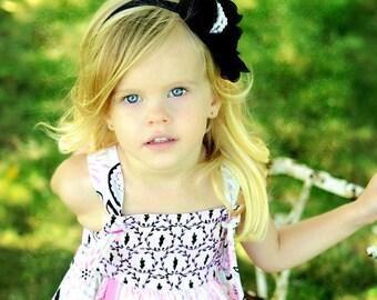 Black Flower Headband, Black Chiffon Rose with Pearls Gray Headband or Hair Clip, The Audrey, Wedding, Baby Headband, Child Girls Headband