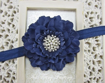 Navy Blue Flower Headband, Velvety Flower w/ Pearl & Crystal Center Headband or Hair Clip, The Eva, Flower Girl, Baby Child Girls Headband