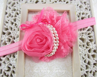 Hot Pink Flower Headband, Lace Rose Flower with Pearls Pink Headband or Hair Clip, The Annabelle, Baby Toddler Child Girls Headband