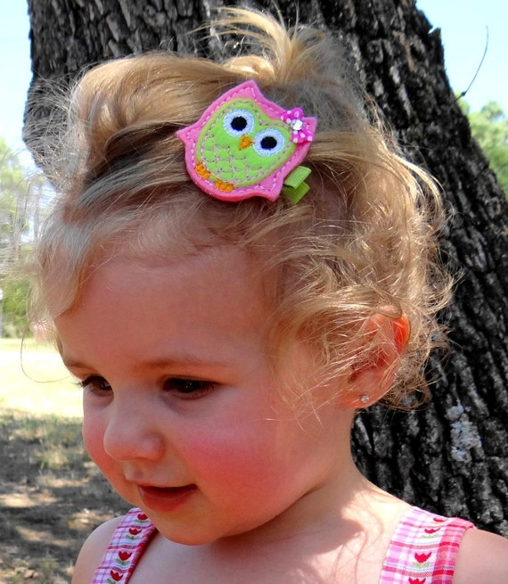 Girls Hair Accessories -  Owl in Pink and Lime With Bow Hair Clip