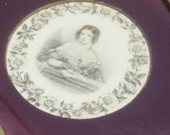 Victorian girl with Banana Curls Writing in Her Diary / Gold Frame