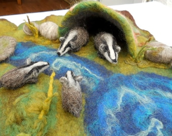 Waldorf Play Mat Play Scape Nature Table Four Badgers at Play Badger family Play time Needle Felted Hand felted wild animals.