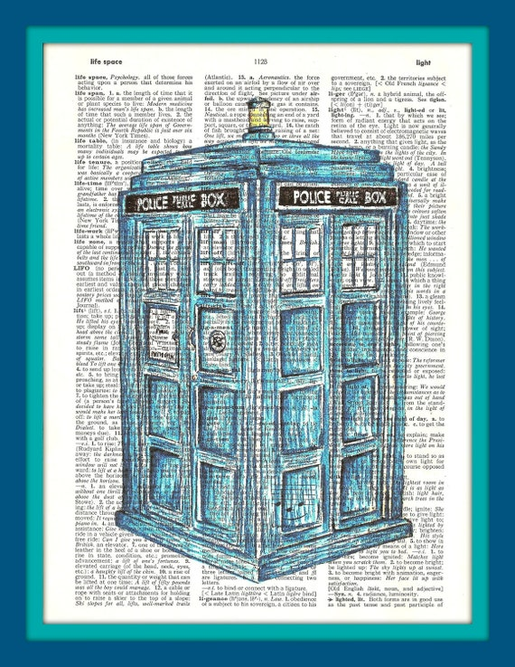 Buy Any 2 Prints get 1 Free Dr. Who Tardis Hand Drawn Vintage Dictionary Art