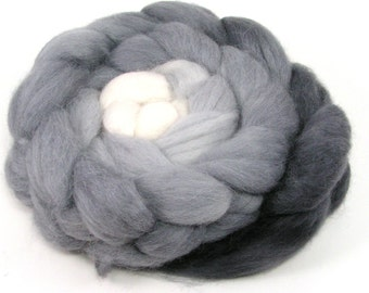 Baby alpaca Combed Top - spinning fiber - Shades of Gray gradient