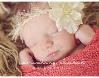 Vintage Inspired Cream Flower Halo Headband All Sizes Newborn through Adult Great Photography Prop