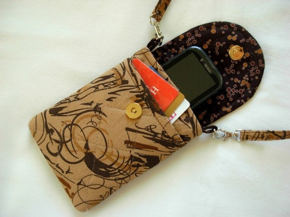 Cell Phone Case With Detachable Neck Strap Quilted Brown Tones