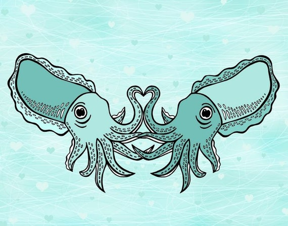 Valentine's Day - Let's Cuttle - Two Turquoise Blue Green Cuttlefish Cuddling 8 x 10 Art Print -  Tentacle Heart - Sea Life Art - Love