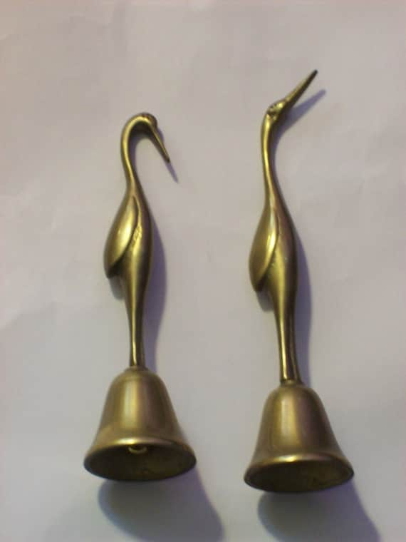 Vintage Brass Cranes Birds Kitchen Home Decor Set Of Two Small Ringing Table Bells