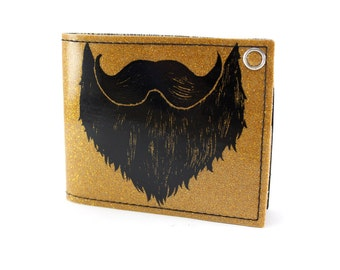 ON SALE - Weird Beard Billfold Wallet - Gold Metal Flake - You know how we do it