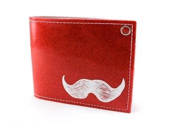 On Sale - Mustache Billfold Wallet - Red Metal Flake - Get up on some Upper Lip Action