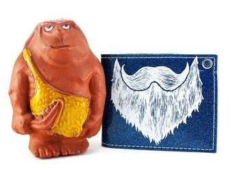 On Sale - Weird Beard Billfold Wallet - Blue Metal Flake - Cave man approved
