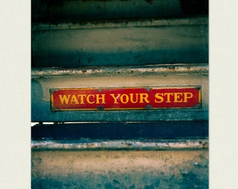 Urban Photography - Wall Decor, Chicago Print, Home Decor - Step Up - Chicago Photography, deep teal, crimson red, Urban Art