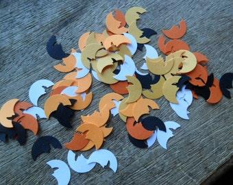 Halloween moon cut outs, orange confetti, moon punches, moon embellishments (100)