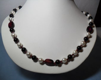 Lush, Plump, Ripe, Juicy, Decadent Garnet Berry Beads, Shell Pearls,and Agate Beads