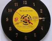 "The Rolling Stones 45 Record Clock ""Its Only Rock and Roll"" Recycled Music Collectible"