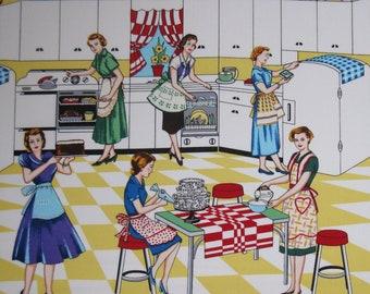 Michael Miller Retro Kitchen Fabric, Home Ec, yardage