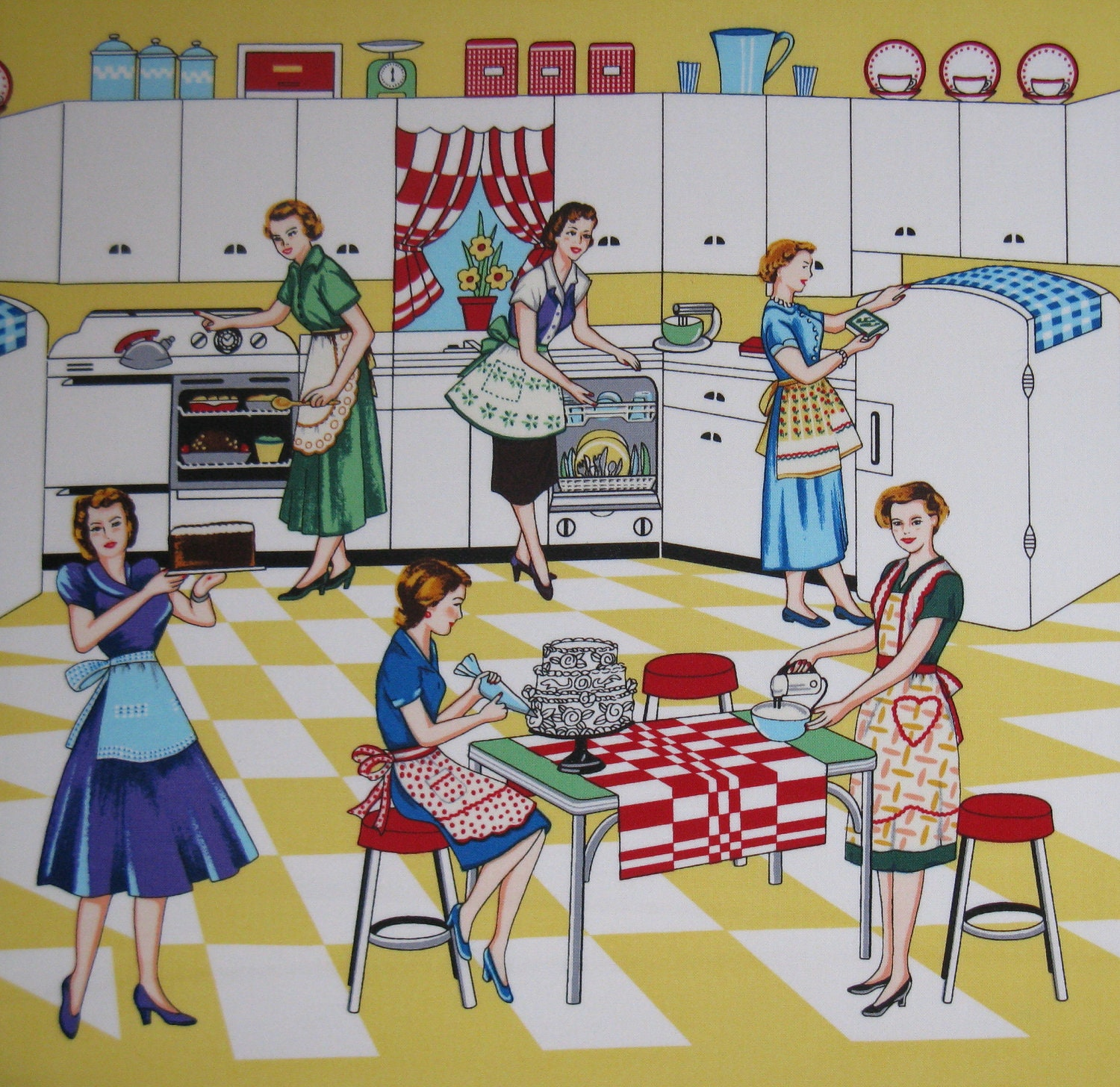 Michael Miller Retro Kitchen Fabric Home Ec Yardage
