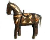 Warrior Horse Statue, Brass Horse, Hand Carved Wood, Bone
