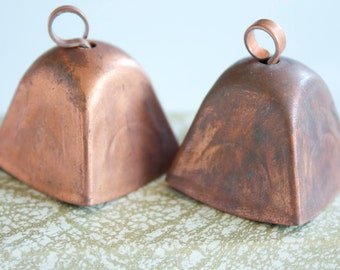 2 Vintage 1940s/ 1950s Copper Coated Cow Bells with Lovely Patina
