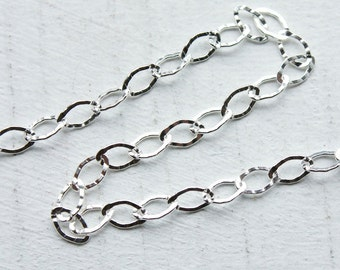 2 feet, Italian Sterling Silver Chain, Small Textured Flat Oval Links, M/FZL060