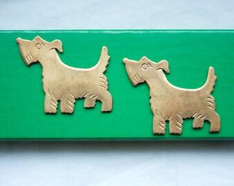 3 Vintage Brass Scotty Dogs // 1960s