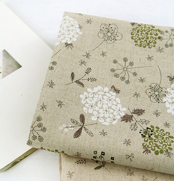 White and Green Hydrangea on Linen blended WIDE 140cm, U2513
