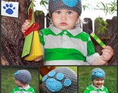 LSBV Paw Print Beanie Grey/Blue Infant-Adult Sizes Available