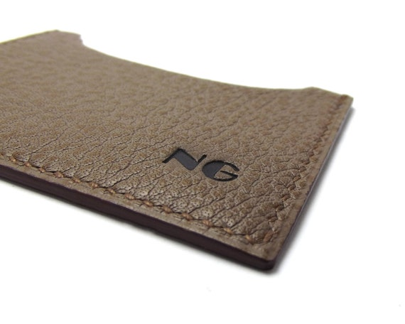 Monogrammed Gray Leather Card Case, ID or Business Card Holder, your initials or name