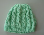 Cable Knit Neon Mint Slouchy Hat