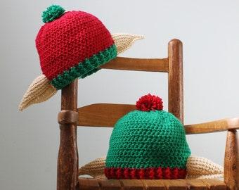 Christmas Elf Hat, Holiday Hat, Crochet Beanie, Elf Ear Hat, Santa's Helper Hat, Holiday Gift, Costume, Accessories, Women, Men, Boys, Girls