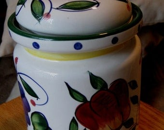 Tuscany Ceramic Sugar / Coffee/ Flour Canister Tuscany by JAY Imports/ Ceramic Container Grapes, Pears, Blue Floral,Yellow Band