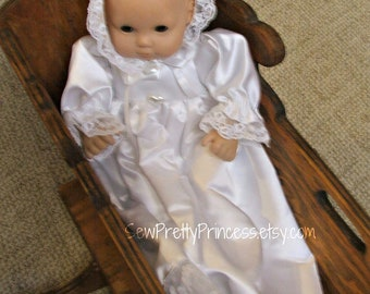 Christening Gown and Bonnet for Bitty Baby and other 15 inch baby dolls