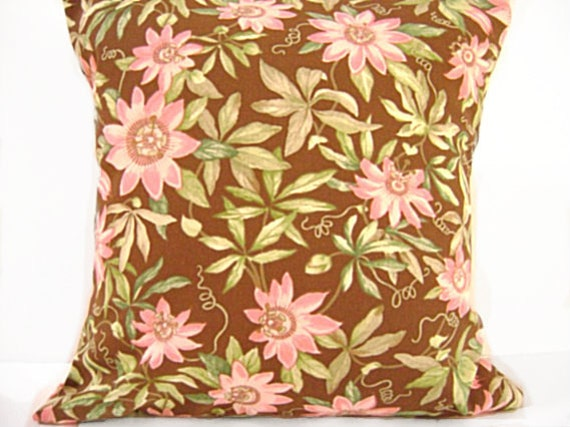 Sale 18.00 Pink Floral Pillow Covers Cushions Brown Green Decorative Pair 18x18