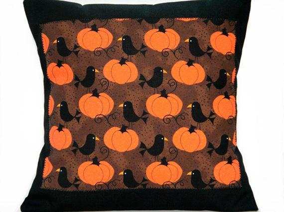 Pumpkins Pillow Cover Cushion Autumn Crows Orange Black Brown Decorative 16x16