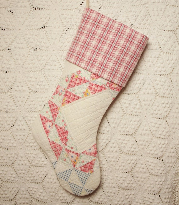 Patchwork Triangles Vintage Quilt Christmas Stocking with Vintage Homespun Cuff