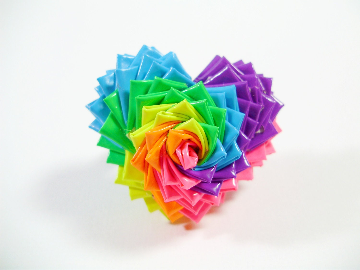 Neon rainbow spiral duct tape heart ring duck tape jewelry for Where can i buy rainbow roses in the uk