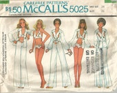 Vintage 70s Pattern Bikini Bathing Suit Swimwear Bra Top Shirt Pants McCalls 5025 size 14 36 bust