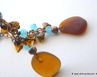 Mermaid Tears - SUNSET - Genuine Amalfi Sea Glass Cluster Earrings with Aquamarine crystals - recycle - reuse -